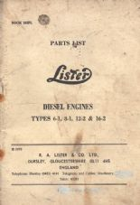 Lister Parts List Diesel types 6-1, 8-1, 12-2, 16-2